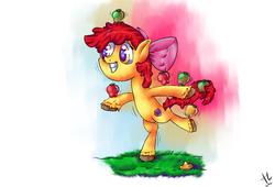 Size: 1400x950 | Tagged: safe, artist:tagknight773, apple bloom, apple, balancing, cutie mark, female, food, solo, the cmc's cutie marks, unshorn fetlocks