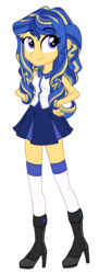 Size: 1040x2856 | Tagged: safe, artist:princess-madeleine, oc, oc only, equestria girls, boots, clothes, next generation, offspring, parent:flash sentry, parent:sunset shimmer, parents:flashimmer, simple background, socks, solo, thigh highs, transparent background
