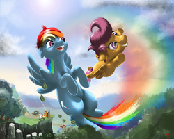 Size: 6895x5516 | Tagged: safe, artist:skribbler84, apple bloom, rainbow dash, scootaloo, sweetie belle, absurd resolution, cliff, crying, cutie mark crusaders, flying, flying lesson, hilarious in hindsight, rainbow trail, scootaloo can fly, scootalove, slingshot