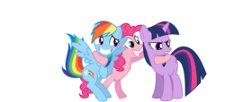 Size: 1100x500 | Tagged: safe, pinkie pie, rainbow dash, twilight sparkle, hoof around neck, hug, polyamory, simple background, transparent background, twidashpie, vector