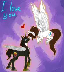 Size: 659x746 | Tagged: aleway, alicorn, alicorn oc, artist:sunny way, colored, feather, female, horn, love, lovely, male, oc, oc:alex, oc only, oc:sunny way, pegasus, pony, rcf community, safe, sketch, straight, wings