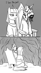 Size: 704x1256 | Tagged: safe, artist:mistermech, maud pie, cave, crossover, dark souls, dark souls 2, felkin the outcast, monochrome, ponified, rock, stare, wall