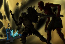 Size: 1260x859 | Tagged: source needed, safe, artist:mistermech, queen chrysalis, changeling, human, undead, armor, crossover, dark souls, hollow, kirk knight of thorns, shield, spikes, sword, weapon