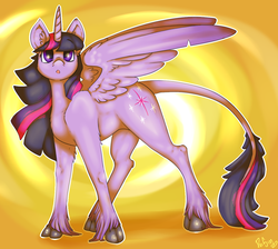 Size: 1225x1100 | Tagged: alicorn, artist:poisindoodles, classical unicorn, cloven hooves, cute, female, fluffy, leonine tail, looking at you, mare, :o, pony, safe, solo, spread wings, starry eyes, twilight sparkle, twilight sparkle (alicorn), unshorn fetlocks, wingding eyes