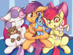 Size: 3000x2250 | Tagged: safe, artist:fearingfun, edit, apple bloom, rainbow dash, scootaloo, sweetie belle, earth pony, pegasus, pony, rabbit, unicorn, :<, adorabloom, belly button, colored pupils, cute, cutealoo, cutie mark crusaders, diasweetes, dock, explicit source, eyes closed, featureless crotch, female, filly, floppy ears, high res, hug, open mouth, plushie, sfw edit, sitting, smiling, teddy bear, underhoof