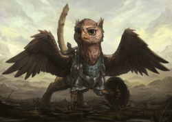 Size: 1200x850 | Tagged: safe, artist:assasinmonkey, oc, oc only, griffon, first contact war, armor, griffon oc, shield, solo, spread wings, sword, weapon