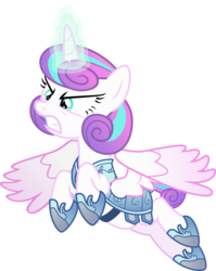 Size: 3436x4310 | Tagged: dead source, safe, artist:xebck, princess flurry heart, alicorn, pony, angry, armor, badass, crystal guard armor, flurry heart pearl of battle, flying, fury heart, glare, glowing horn, gritted teeth, magic, older, older flurry heart, simple background, solo, spread wings, transparent background, vector