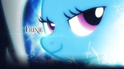 Size: 1920x1080   Tagged: safe, artist:adrianimpalamata, artist:derpystats, trixie, pony, unicorn, abstract background, accessory swap, bedroom eyes, close-up, female, mare, solo, sparkles, text, vector, wallpaper