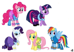 Size: 736x512 | Tagged: safe, artist:bananimationofficial, edit, fluttershy, pinkie pie, rainbow dash, rarity, twilight sparkle, equestria girls, bedroom eyes, bracelet, clothes, equestria girls ponified, grin, op is a duck, op is trying to start shit, ponified, raised hoof, smiling, spread wings