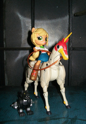 Size: 591x850 | Tagged: action figure, applejack, clothes, crossover, doll, equestria girls, equestria girls minis, eqventures of the minis, fuunsaiki, g gundam, humans riding horses, mobile fighter g gundam, pony ears, ravage, safe, skirt, toy, transformers