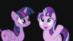 Size: 1920x1080 | Tagged: safe, screencap, starlight glimmer, twilight sparkle, alicorn, pony, unicorn, the cutie re-mark, black background, cute, female, friends are always there for you, glimmerbetes, mare, open mouth, s5 starlight, simple background, smiling, starry eyes, twilight sparkle (alicorn), wingding eyes