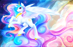 Size: 3592x2338 | Tagged: safe, artist:koveliana, princess celestia, alicorn, pony, bedroom eyes, chest fluff, chromatic aberration, color porn, colored hooves, cute, cutelestia, ear fluff, ethereal mane, female, leg fluff, lidded eyes, looking at you, mare, profile, solo, transparent wings, unshorn fetlocks, wallpaper
