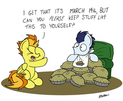 Size: 2194x1804 | Tagged: safe, artist:bobthedalek, soarin', spitfire, pegasus, pony, chair, duo, facehoof, food, pi day, pie, simple background, that pony sure does love pies, white background