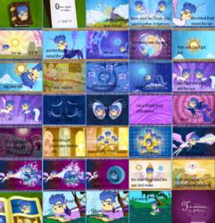 Size: 768x798 | Tagged: safe, edit, edited screencap, screencap, flash sentry, nightmare moon, princess celestia, princess luna, friendship is magic, big bad brad, brad, comic, copacetic, day, elements of harmony, mare in the moon, moon, night, ponyville, sun
