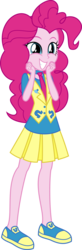 Size: 1788x5468   Tagged: safe, artist:osipush, pinkie pie, equestria girls, absurd resolution, canterlot high, clothes, cute, excited, female, inkscape, necktie, pleated skirt, school spirit, school uniform, shoes, simple background, skirt, smiling, sneakers, solo, transparent background, uniform, vector, vest, wondercolts