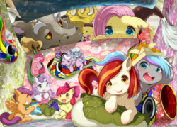 Size: 1040x744 | Tagged: safe, artist:chikasa koishi, apple bloom, diamond tiara, discord, fluttershy, pinkie pie, scootaloo, silver spoon, sweetie belle, oc, oc:poniko, oc:rokuchan, draconequus, earth pony, pegasus, pony, unicorn, blushing, cutie mark crusaders, eyes closed, female, filly, flower, food, glasses, japan ponycon, looking at each other, looking at you, male, mare, mochi, open mouth, origami, pixiv, prone, sitting, smiling, sweat, sweatdrop, tongue out