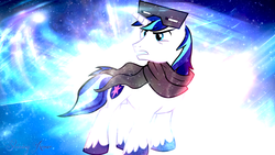Size: 1920x1080 | Tagged: abstract background, artist:bobthelurker, artist:signumde, clothes, gritted teeth, male, safe, scarf, shining armor, snow, snow goggles, solo, sparkles, stallion, text, unicorn, vector, wallpaper