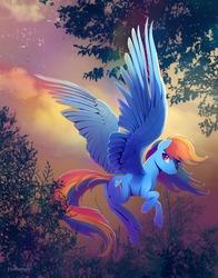 Size: 1600x2036 | Tagged: safe, artist:viwrastupr, rainbow dash, pegasus, pony, cloud, female, flying, large wings, leaves, looking back, mare, solo, tree