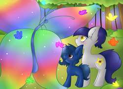 Size: 1800x1300   Tagged: safe, artist:ashee, oc, oc only, oc:fruity blossom, oc:starlight blossom, butterfly, female, filly, mother and daughter