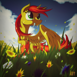 Size: 1500x1500 | Tagged: safe, artist:ruhisu, oc, oc only, alicorn, changeling, pony, commission, fangs, flower, meadow, request, sky, smiling