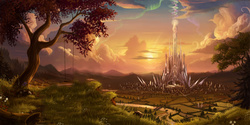 Size: 5300x2656 | Tagged: source needed, safe, alternate version, artist:devinian, aurora crystialis, bridge, cloud, crepuscular rays, crystal empire, crystal palace, flower, forest, grass, log, mountain, no pony, river, road, scenery, scenery porn, stars, sunset, swing, tree, wallpaper