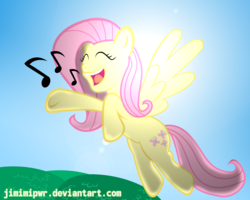 Size: 2500x2000   Tagged: safe, artist:jimimipwr, fluttershy, flying, lens flare, singing, solo, sun