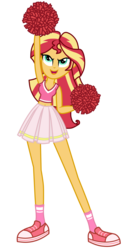 Size: 1800x3500 | Tagged: safe, alternate version, artist:mixiepie, sunset shimmer, equestria girls, >:d, belly button, cheerleader, clothes, female, midriff, open mouth, pleated skirt, pom pom, red, shoes, simple background, skirt, sneakers, socks, solo, transparent background