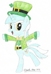 Size: 739x1080   Tagged: safe, artist:bobbyjoedudley, artist:genericpony, lyra heartstrings, pony, unicorn, bipedal, bowtie, clothes, clover, female, four leaf clover, hat, leprechaun, looking at you, mare, open mouth, saint patrick's day, simple background, smiling, solo, top hat, traditional art, white background