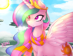 Size: 1300x1004 | Tagged: safe, artist:drbdnv, princess celestia, alicorn, pony, breath, clothes, cold, female, mare, open mouth, pinklestia, scarf, smiling, solo, spread wings