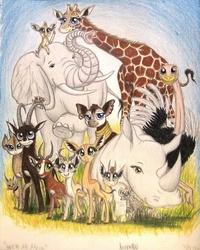 Size: 800x999   Tagged: safe, artist:thefriendlyelephant, oc, oc only, oc:amara the hyena, oc:dom stom bubu, oc:kamau, oc:kekere, oc:kweli masozi, oc:lesotho, oc:maisha, oc:mbili, oc:mmiri, oc:moja, oc:nuk, oc:obi, oc:sabe, oc:salma, oc:tatu, oc:uganda, oc:zeka, antelope, avian, bird, bontebok, caracal, dik dik, elephant, elephant shrew, gazelle, gerenuk, giant sable antelope, giraffe, hyena, okapi, ostrich, rhinoceros, springbok, africa, animal in mlp form, big ears, big eyes, cloven hooves, grass, group, horns, non-mlp oc, size difference, traditional art, tusk