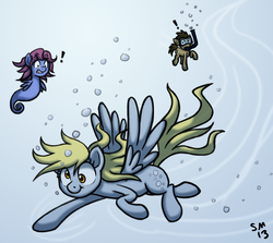 Size: 970x864 | Tagged: safe, artist:serenamidori, derpy hooves, doctor whooves, time turner, pegasus, pony, sea pony, female, mare, swimming, underwater, water