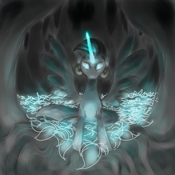Size: 900x900 | Tagged: safe, artist:perrydotto, zecora, alicorn, zebra, zebra alicorn, zebracorn, alicornified, everfree forest, forest, glowing eyes, poison joke, race swap, solo, zecoracorn