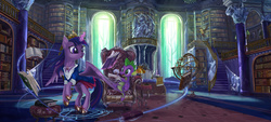 Size: 5940x2693 | Tagged: safe, artist:devinian, night light, owlowiscious, spike, twilight sparkle, twilight velvet, alicorn, bird, owl, pony, absurd resolution, armillary sphere, book, bookshelf, chair, clothes, crystal, detailed, female, flying, globe, golden oaks library, hoof shoes, ladder, lamp, levitation, library, luxury, magic, magic circle, mare, necklace, painting, pillar, princess shoes, quill, railing, scenery, scenery porn, scroll, sitting, stairs, statue, technically advanced, telekinesis, twilight sparkle (alicorn), twilight's castle, twilight's castle library, window