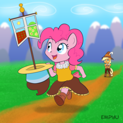Size: 1000x1000   Tagged: safe, artist:empyu, applejack, chancellor puddinghead, pinkie pie, smart cookie, anthro, mountain, outdoors, ruff (clothing)