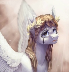 Size: 976x1025   Tagged: safe, artist:pessadie, oc, oc only, pegasus, pony, crying, laurel wreath, solo, tattoo