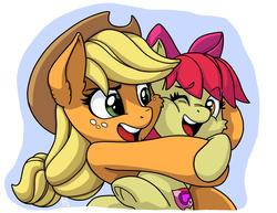 Size: 1650x1275 | Tagged: safe, artist:latecustomer, apple bloom, applejack, adorabloom, applebetes, cute, cutie mark, heartwarming, hug, jackabetes, sisters, sweet dreams fuel, the cmc's cutie marks