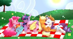 Size: 4000x2160 | Tagged: safe, artist:cartoonboyfriends, applejack, fluttershy, pinkie pie, rainbow dash, rarity, twilight sparkle, alicorn, pony, blanket, boop, cuddle time, female, hat, mane six, mare, nap, noseboop, omniship, outdoors, pile, polyamory, rarijack, shipping, tree, twilight sparkle (alicorn)