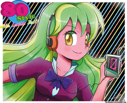 Size: 1259x1022 | Tagged: safe, artist:the-butch-x, lemon zest, equestria girls, 80s, headphones, looking at you, smiling, solo, walkman