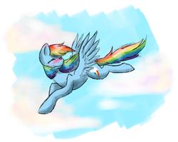 Size: 1632x1300   Tagged: safe, artist:justalittleshadow, rainbow dash, blushing, flying, solo