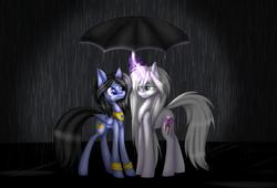 Size: 5000x3409   Tagged: safe, artist:emalajiss36, oc, oc only, pegasus, pony, unicorn, magic, rain, umbrella