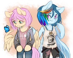 Size: 1000x801 | Tagged: safe, artist:lightning-stars, fluttershy, rainbow dash, semi-anthro, alternate hairstyle, arm hooves, chloe price, clothes, crossover, female, game, jacket, life is strange, maxine caulfield