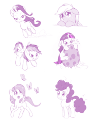 Size: 1280x1752 | Tagged: safe, artist:dstears, applejack, fluttershy, pinkie pie, rainbow dash, rarity, twilight sparkle, the cutie mark chronicles, cute, dashabetes, diapinkes, filly, filly applejack, filly fluttershy, filly pinkie pie, filly rainbow dash, filly rarity, filly twilight sparkle, floppy ears, jackabetes, mane six, monochrome, partial color, raribetes, rarity being dragged to her destiny, shyabetes, spike's egg, twiabetes, younger