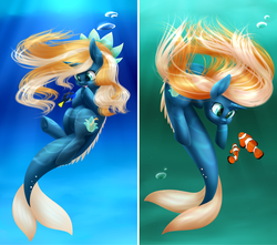 Size: 2975x2625 | Tagged: aquapony, artist:noodlefreak88, contest entry, dory, finding nemo, mermaid, merpony, my little pony, oc, oc only, oc:tidal charm, safe, seaunicorn, underwater