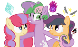 Size: 1100x660 | Tagged: safe, artist:rickyschwifty, oc, oc only, dracony, earth pony, hybrid, pony, cutie mark, foal, interspecies offspring, magical lesbian spawn, next generation, offspring, parent:apple bloom, parent:rumble, parent:scootaloo, parent:spike, parent:sweetie belle, parents:diamondbloom, parents:rumbloo, parents:spikebelle, simple background