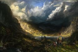 Size: 1920x1280 | Tagged: safe, artist:assasinmonkey, applejack, winona, dog, human, backpack, clothes, cloud, epic, gloves, humanized, jeans, lake, mountain, pants, scenery, scenery porn, shirt, style emulation, valley