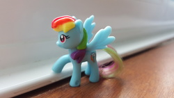 Size: 5312x2988 | Tagged: irl, kinder egg, photo, rainbow dash, safe, solo, window