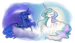 Size: 1280x740 | Tagged: artist:king-kakapo, classical unicorn, cloud, curved horn, cute, cutelestia, eyes closed, leonine tail, lunabetes, missing accessory, princess celestia, princess luna, prone, royal sisters, safe, sisters, smiling, unshorn fetlocks