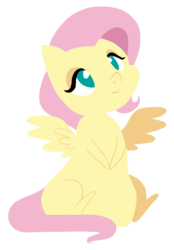 Size: 2364x3398 | Tagged: artist:sk-ree, chibi, fluttershy, missing cutie mark, safe, simple background, sitting, solo, spread wings, transparent background