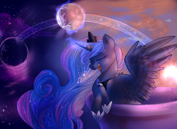 Size: 5000x3634 | Tagged: safe, artist:segraece, princess luna, alicorn, pony, balcony, crown, eyes closed, female, leaning, mare, moon, music notes, night, open mouth, singing, smiling, solo, spread wings, sunset, twilight (astronomy)