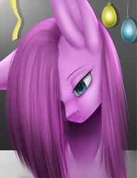 Size: 1557x2015 | Tagged: safe, artist:noodlefreak88, pinkie pie, balloon, hair over one eye, pinkamena diane pie, sad, solo, streamers